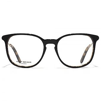 Kurt Geiger Sofie Preppy Acetate Round Glasses In Black On Tortoiseshell