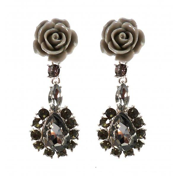 W.A.T Grey Rose And Grey Crystal Teardrop Shaped Fashion Earrings