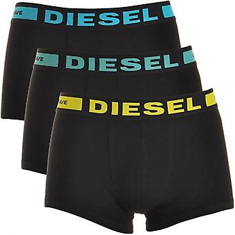 DIESEL 3-Pack Boxer Trunk UMBX-Kory, Black With Blue / Green / Yellow, Large