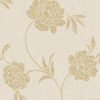 Flower Wallpaper Floral Luxury Textured Vinyl Metallic Beige Gold Fine Decor