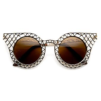 Женская мода металла лазерной резки Крисс пересекли глаз очки Cat