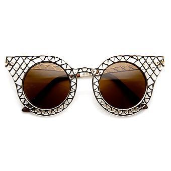 Womens Fashion Metal Laser Cut Criss Crossed Cat Eye Sunglasses