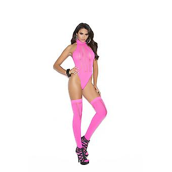 Elegant Moment EM-1585 Opaque and Sheer Teddy With Matching Stockings