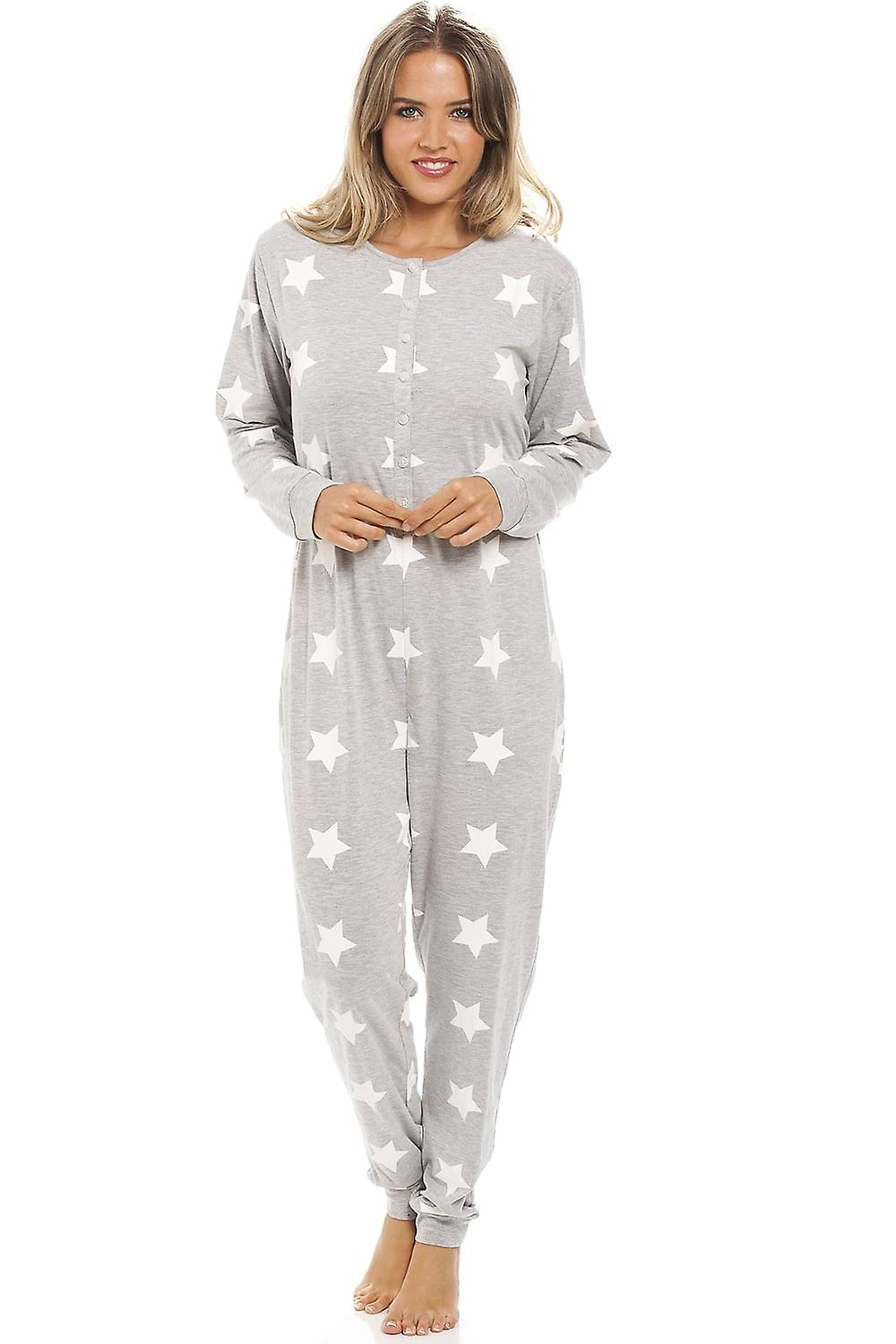 Camille Grey Full Cotton White Star Print All In One
