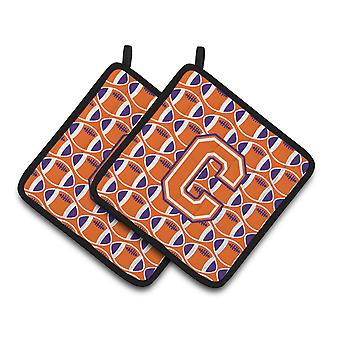 Letter C Football Orange, White and Regalia Pair of Pot Holders