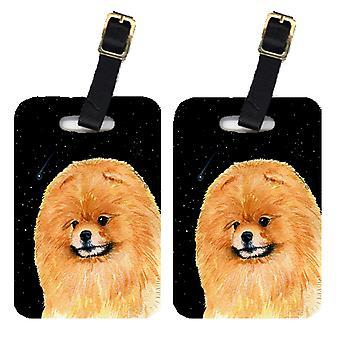 Carolines Treasures  SS8481BT Starry Night Pomeranian Luggage Tags Pair of 2