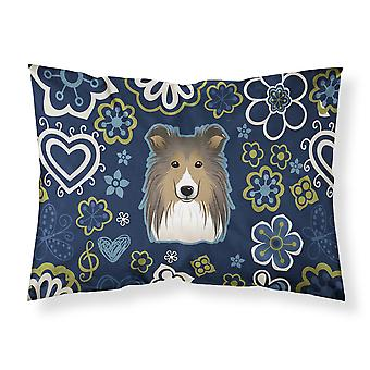 Blue Flowers Sheltie Fabric Standard Pillowcase