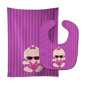 Солнцезащитные очки девушка пляж младенца Сара ребенок нагрудник & Берп Ткань