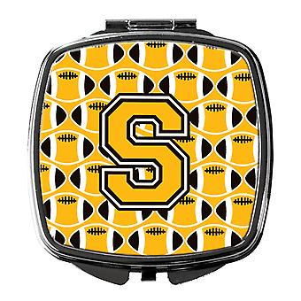Letter S Football Black, Old Gold and White Compact Mirror