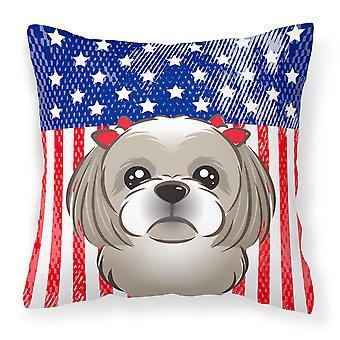 Shih Tzu tejido decorativo de la almohadilla de plata gris y bandera americana