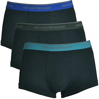 Emporio Armani Fashion Multipack Cotton Stretch 3-Pack Trunk, Marine With Blue / Teal / Grey, Medium