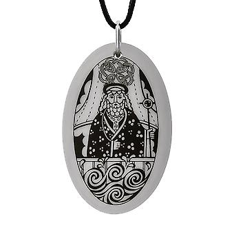 Håndlavede Saint Brendan Oval formet porcelæn vedhæng ~ 36 tommer sort ledning