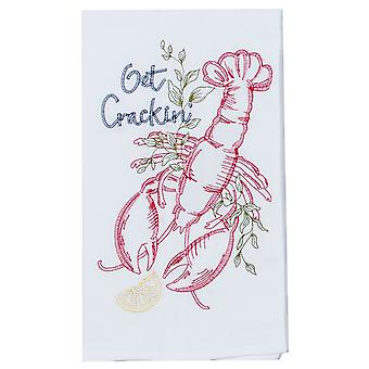 Get Cracking Red Lobster Embroidered Flour Sack Kitchen Dish Towel