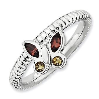 2.5mm Sterling Silver Bezel Polished Rhodium-plated Stackable Expressions Garnet and Citrine Butterfly Ring - Ring Size: