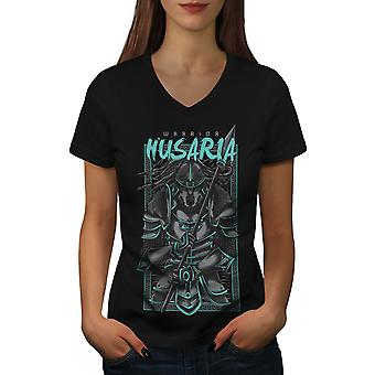 Warrior Husaria Fashion Women BlackV-Neck T-shirt | Wellcoda