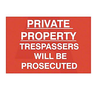 ASEC `Private Property Trespassers Will Be Prosecuted` 400mm X 600mm PVC Self Adhesive Sign