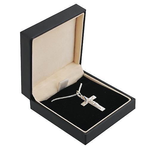 Silver 24x14mm flat latin Crucifix Cross with a curb Chain 20 inches