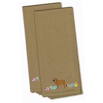 Belgian Sheepdog Easter Tan Embroidered Kitchen Towel Set of 2