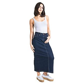 USKEES JESSICA Long Denim Skirt - Darkwash Maxi Jean Skirt UK 8-22
