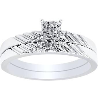 Diamond Engagement Matching Wedding Ring Set 14K White Gold