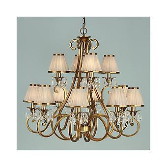 Interiors 1900 Oksana Brass 12 Light Chandelier With Beige Shades