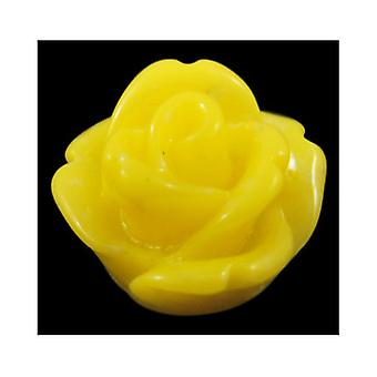 Packet 20 x Yellow Resin Flat Back 20mm Flower 10mm Thick Cabochon Y04295