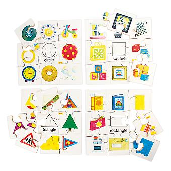Bigjigs Toys Educational Shapes Puzzles Set 1 (Set of 4 Puzzles)