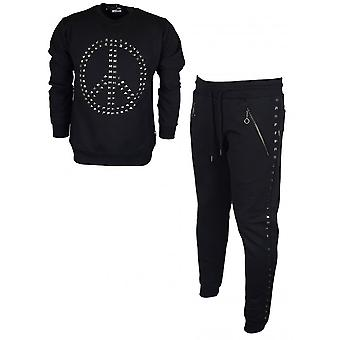Moschino M647029m3875 Cotton Round Neck Studded Black Tracksuit