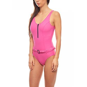 Curve-friendly shaping swimsuit D-Cup plus size pink heine