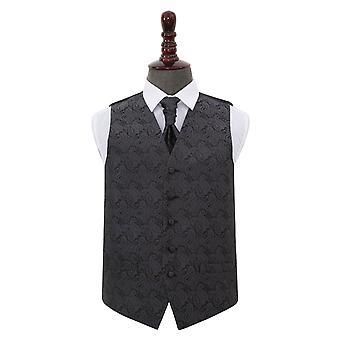 Carbone di legna grigio Paisley sposa gilet & Cravat Set