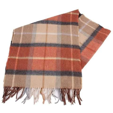 Bassin and Brown Lillee Check Cashmere Scarf - Brown/Orange