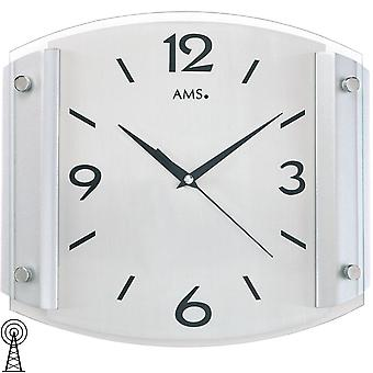 AMS 5938 clock radio geschwungenes Crystal silver-lacquered wooden cabinet