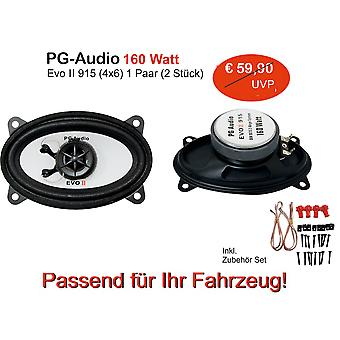 PG Audio 9 x 15 cm 2-way coaxial speaker, 4 x 6 inch, 160 watts, 1 pair new