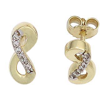 Parte del rodio con zirconi Orecchini infinite 333 oro orecchino oro giallo oro
