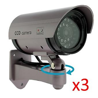 Kabalo 3 x realistische Fake Dummy CCTV Security Camera knippert rood LED Indoor Outdoor Silver