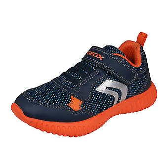 Geox J Waviness B.A Kids Casual Trainers / Shoes - Navy and Orange