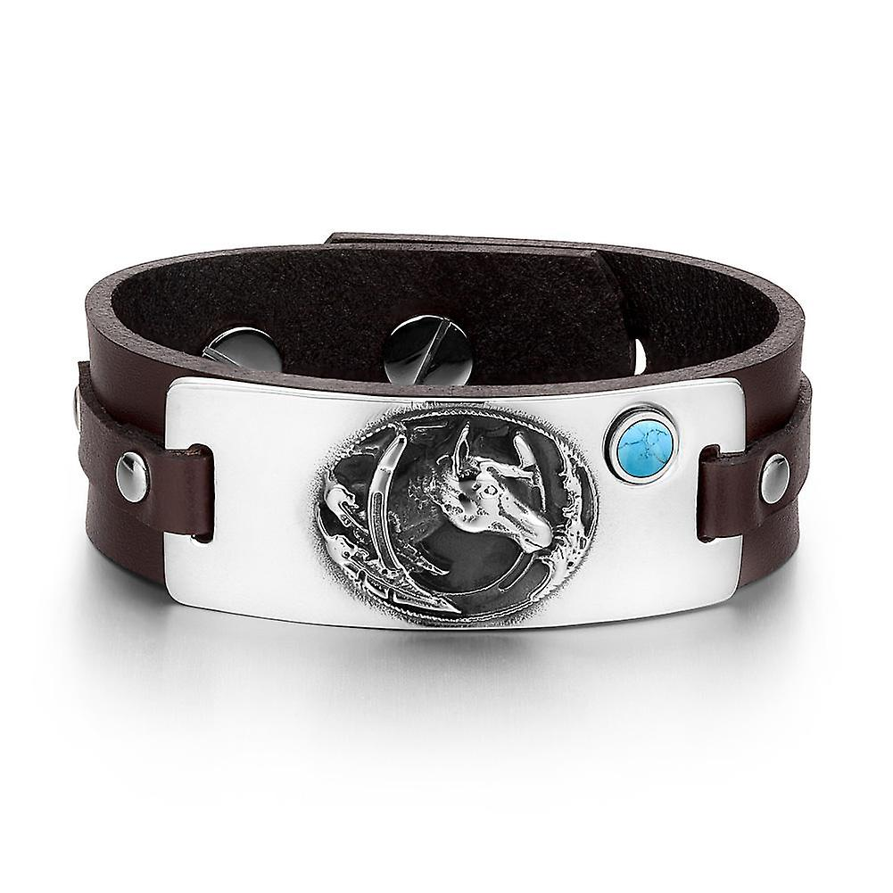 Brave Mustang Amulet and Lucky Horse Shoe Amulet Mustang Tag Simulated Turquoise Adjustable Brown Leather Bracelet 216a26