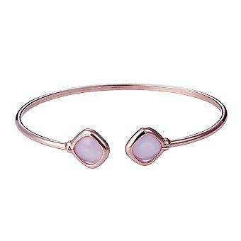 Orphelia 925 Silver Rose Gold Bangle Twist Milky Pink Color Glassantik   ZA-7405
