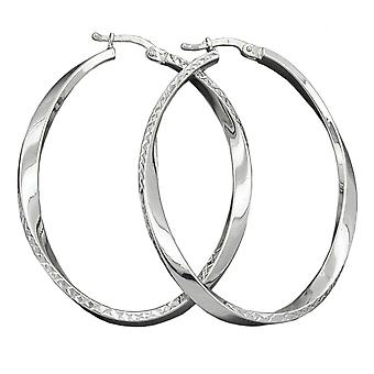 Hoop earrings oval shape silver 925