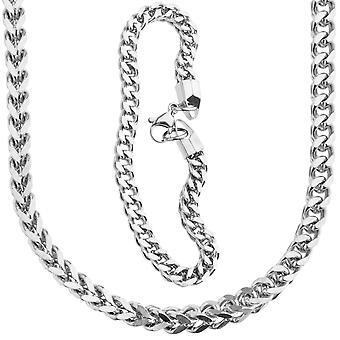 Iset ut rustfritt stål Franco 5x5mm sett - halskjede & armbånd