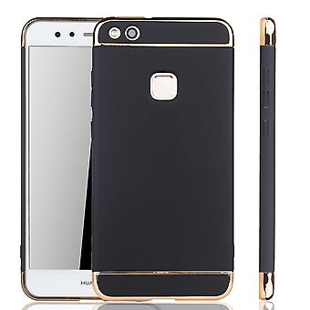 Cell phone cover case voor Huawei P10 Lite bumper 3 in 1 cover chroom zwart