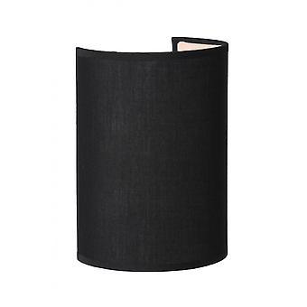 Lucide Coral Ferienhaus Halbrund Baumwolle schwarz Wandleuchte