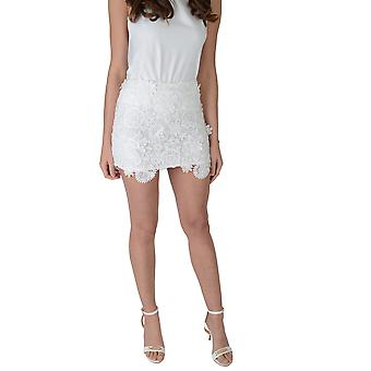Lovemystyle High Waisted dentelle Midi jupe en blanc