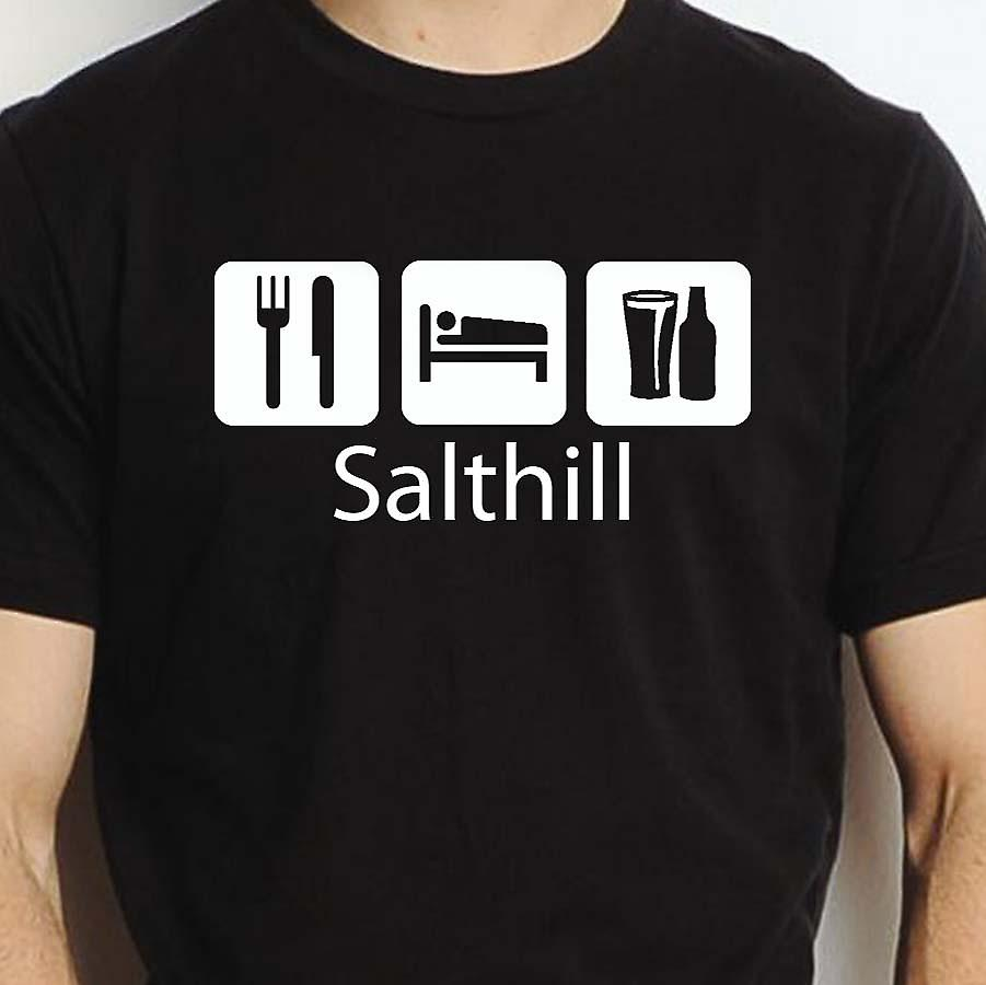 Eat Sleep Drink Salthill Black Hand Printed T shirt Salthill Town
