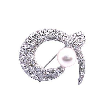 Round Cubic Zircon Snake Head Brooch with Pearls & Encrusted Crystals