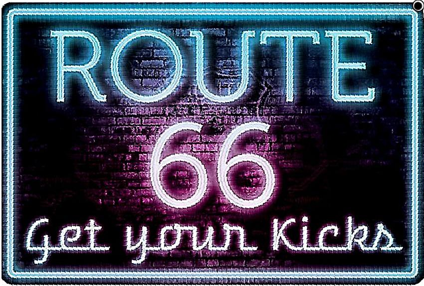 Route 66 Neon Get Your Kicks embossed metal sign  (ga)