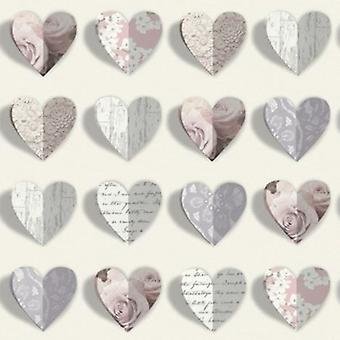 Arthouse Olivia Heart Shapes Roses Scripts Vintage Shabby Chic Love Wallpaper