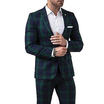 Gebruik van Londen Mens Black Watch Tartan Suit vest Slim Fit Notch revers