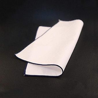 Navy blue trim plain white 100% cotton pocket square