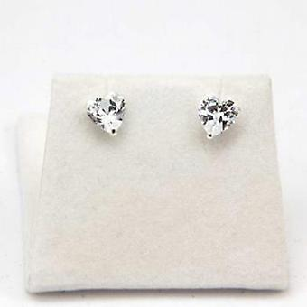 The Olivia Collection Sterling Silver Clear Cz Heart Shaped Earrings 6mm